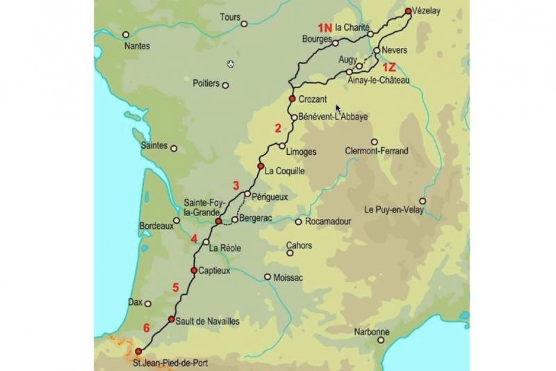 Carte Voie de Vézelay